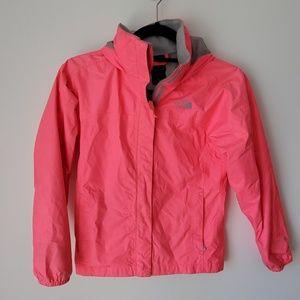 North Face kids pink hyvent rain jacket